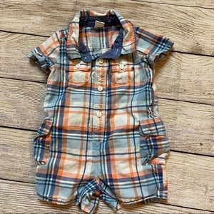 3/$12 baby gap plaid collared romper 6-12